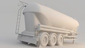 Grain Silo Semi Trailer 3D Model 5