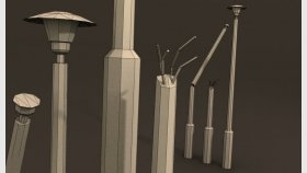 lowpoly lampa light street Game model and Textures