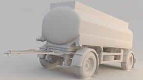 Milk Tank Trailer 3D Model 1