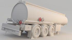 Fuel Tank Truck Trailer 3D Model 2