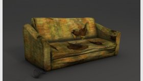 Lowpoly old sofa Game model and Textures
