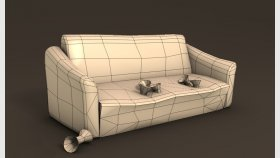 Lowpoly old sofa Game model