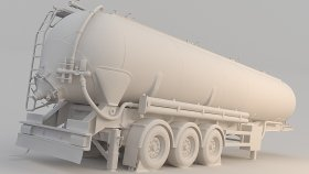Silo Tank Trailer 3D Model 6