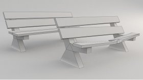 Lowpoly bench Game Model