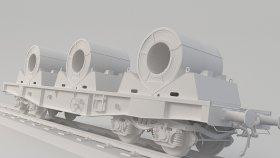 Train 3d Flat car Spool Metal (2)