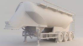 Grain Corn Silo Semi Trailer 3D Model 7