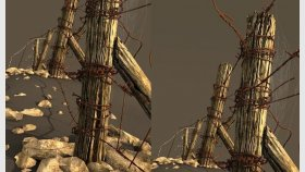 Abandoned Wooden Fence 3D Model and Textures