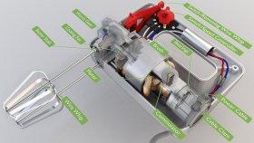 Hand Mixer 3D Model Diagram Inside Parts 1