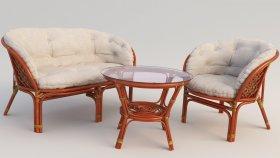 Garden Furniture Bamboo & Rattan 3d